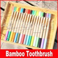 kohlenstoff-bambus großhandel-Regenbogen Bambus Zahnbürste 17 Farben Runder Bambusgriff Schwarze Borste Erwachsene Tandenborstel Holzgriff Kohlenstoffarme Zahnbürste
