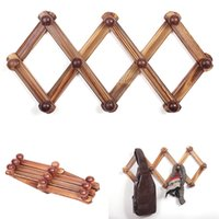 holz wand haken rack großhandel-10-Haken rustikales Holz erweiterbar Akkordeon Peg Garderobe Kleiderbügel Wandgarderobe