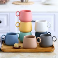 Wholesale lovers mug gifts for sale - Group buy High Quality Matte Color Procelain Coffee Mugs Lovers Ceramic Tea Milk Tumbler Cups Office Cute Mug Best Gift