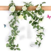 hängende reben grüne blätter großhandel-Silk Rosen-künstliche Blumen-Rebe mit gefälschtem Grün verlässt Haus für Hochzeits-Dekoration diy hängende Girlande