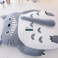 Wholesale totoro bed resale online - Dorimytrader cm x cm Pop Japanese Anime Gray Totoro Plush Bed Beanbag Big Stuffed Cartoon Totoro Sleeping Bag Tatami Sofa