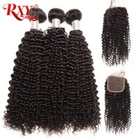 Wholesale kinky curly hair 4pcs closure for sale - Group buy Malaysian Curly Human Hair Bundles With Closure Bag Malaysian Kinky Curly Hair Bundles With Closure Free Middle Three Part Lace Closure