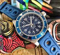 relojes modernos para hombre al por mayor-Reloj de lujo moderno caliente Movimiento automático Dial 43MM Blue Face 316L Blueblack Rubber Steel Sapphire Correa original para hombre Reloj de alta calidad