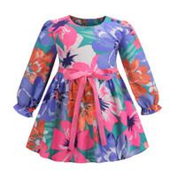 niños de graffiti al por mayor-2019 Nuevos Niños Vestidos de primavera niñas flores coloridas graffiti vestido plisado falbala manga de la cinta Arcos cinturón princesa vestido F3948