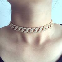 Wholesale free shipping bijoux resale online - Fashion Statement Cuban Link Chain Choker Necklace adjust Women Wedding Bijoux