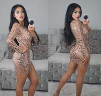 heiße ärmel abendkleider großhandel-Sexy pailletten abendparty mini verbandkleid Damenmode Langarm Oansatz Weihnachtskleid Club Wear Bodycon Vestidos Hot Q004