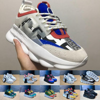 Wholesale running gym bag online - CHAIN REACTION Love sneaker women men red black ght weight chain linked designer sport fashion Casual Shoes dust bag box