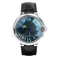 relógio automático de 47mm venda por atacado-Mens Designer Relógios Blue Ballon Moda Calssic Relógio De Luxo Automático Mecânico Relógios De Pulso 47mm 316L Caixa De Aço Pulseira De Couro Preto
