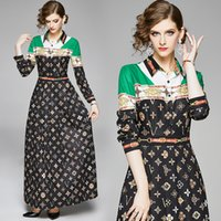 Wholesale ankle length dresses for autumn resale online - Temperament Dress for Women Long Sleeve Spring Autumn Maxi Dress Prom Evening Dress Fashion High end Printed Lady Dresses