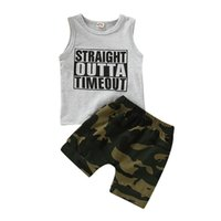 мальчики летние жилеты топы оптовых-1-5T Toddler Kids Baby Boy 2Pcs Set Sleeveless Letter Print Vest Tops Camo Shorts Summer Baby Boys Clothes