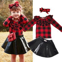 vestido de roupa de couro venda por atacado-Bebê vestido de saia de couro menina com headband camisa de manga comprida xadrez Primavera Outono roupas miúdos bonitos meninas vestidos de roupa 1-7years