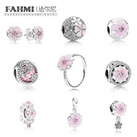 Wholesale pink spikes studs online - FAHMI Sterling Silver Charm BLOOM RING MAGNOLIA EARRING STUDS Bloom SPACER HANGING Charm Magnolia Bloom Pale Cerise Pink