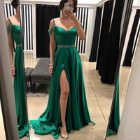 Wholesale stylish short sleeve evening dresses resale online - 2020 Stylish Side Split Long Prom Dresses with Beaded Sash Spaghetti Straps Evening Gowns Cheap Bride Party Dress