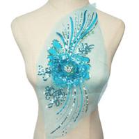 rhinestone azul vestidos de novia al por mayor-Sky Blue Silver Sequined 3D Flower Rhinestone de la borla apliques de malla de encaje bordado coser en parches para el vestido de boda decoración de bricolaje
