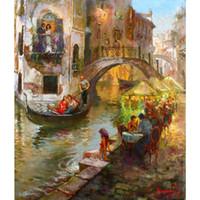 venise peintures à l'huile achat en gros de-Peint à la main peintures à l'huile ville paysages Paysages Peinture mariée - Romance à Venise Willem Haenraets toile art pour la décoration murale