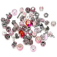 bijoux tibet venda por atacado-Atacado 50 Pcs Misturado tema rosa Pingente Charme Sterling Silver Encantos Europeus Bead Fit Pandora Pulseiras Cobra Cadeia de Moda DIY Jóias