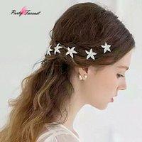Wholesale rhinestone starfish hair accessories resale online - PF Bride Headdress Headwear Rhinestone Starfish Hairpins Hair Clips for Women Girls Cute Hairpin Hair Accessories TS0872