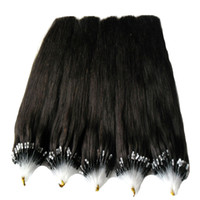 Wholesale real dark brown hair extensions resale online - Micro Ring Beads Hair Extensions Micro Loop Real Remy Brazilian Hair G Remy Brazilian Straight Loop Micro Ring Human Hair Extensions