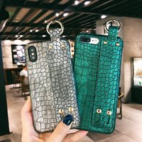 Wholesale wrist strap handbag resale online - Retro Crocodile Texture Leather Cover for Iphone Xs Max Case Hard Back Cover Shell with Wrist Strap Coque for Iphone Xr Cases
