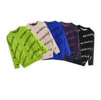 hoodies sweatshirts dhl toptan satış-5Pcs Lot DHL ücretsiz gönderim Erkek Triko Kazak Erkekler Marka Deisgners Hoodie Uzun Kollu Lüks Tasarımcılar Kazak Harf Nakış Knitwe