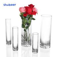 decoração pequena casamento venda por atacado-1 Pcs Pequeno Vaso De Flor Alto Vasos Transparentes Para O Casamento Centrais Decoração de Mesa Para Casa