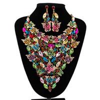 reçine kelebek kadınlar toptan satış-Kadınlar Için afrika Boncuk Takı Setleri kelebek Aksesuarları Düğün Gelin Kristal Kolye Bildirimi Kolye Küpe Reçine Gem Takı Seti