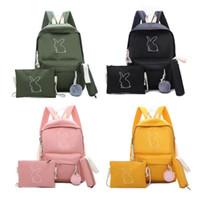 şirin kanvas omuz çantası sırt çantası toptan satış-3 adet Sevimli Tuval Kızlar Sırt Çantası Omuz Crossbody Çanta Kalem Kutusu Genç Öğrenci Baskılı Katı Renk Schoolbag Set 2019 Yeni