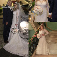 Wholesale bridal dresses ivory veil resale online - 2019 A line Jewel Wedding Dresses With Long Sleeves and Veil Bridal Gowns Beach Wedding Dress Custom Made