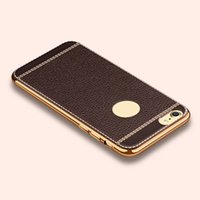 Wholesale i phone cases accessories resale online - PU Leather Luxury Chrome Electroplate Tpu Case for IPhone X Xs Max s Plus I Phone X plus Phone Cover Accessories