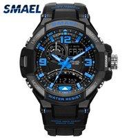 часы двойные цифровые часы оптовых-SMAEL спортивные часы 1516 Марка 50 м водонепроницаемый двойной время наручные часы светодиодные цифровые часы S мужские наручные часы Reloj Hombre Relogio