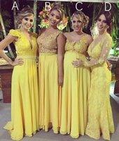 ingrosso abiti da fidanzamento giallo-Abito da sera sexy elegante da donna taglie forti Abito lungo da ballo giallo 2019 Abiti da ballo gialli