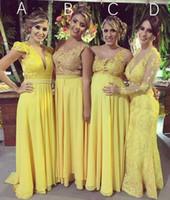 gelbe verlobungskleider großhandel-Reizvolle elegante Frauen plus Größen-Abend-formales Kleid langes gelbes Abschlussball-Kleid-Verlobungs-langes Kleid 2019