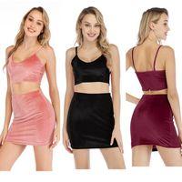 iki renk kadın elbise toptan satış-2019 İki Adet Set Yaz Kadınlar Mahsul 3 Renkler Tops ve Mini Etekler Setleri 2adet Kıyafetler 2 Adet Set Elbise