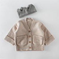 Wholesale baby boys clothes online - Ins Baby clothing romper sets girl boy knitted solid color cotton Cardigan coat kids cardigan sweater Spring Fall clothing sets