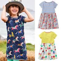 ingrosso disegni della bretella-Kids Designer Clothes Girls 42 Design Flamingo Unicorn Stampato A-Line Dress Baby Girl Clothes Summer Girl Dress Abbigliamento per bambini 2-7T 07