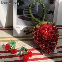 Wholesale novelty wallets coin purses resale online - Strawberry Coin Purse Novelty Beaded Handbags Tiny Mini Kawaii Cute Girls Clutches Wallet Lady Evening Bags Purse Red