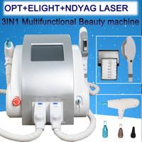 q geschaltet nd yag laser hair groihandel-3 in 1 tragbaren Q nd YAG- Laser Tattoo-Entfernung IPL SHR Enthaarung Pigmentabbau Lasermaschine eingeschaltet