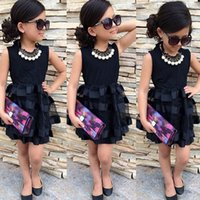 küçük kız siyah prenses elbiseleri toptan satış-2019 Yeni Tasarım Kız Katmanlı TuTu Elbise Bebek Kız Küçük Siyah Prenses Elbise çocuk Parti Elbise Vestido Giyim