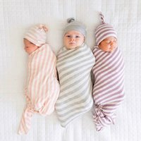 bébé extensible achat en gros de-Nouveau-né Stripe Swaddle Blankets + Chapeaux Set Euro America Vente Chaude Bébé Literie Infant Toddlers Stretchy Super Doux Swaddles Réception Couverture
