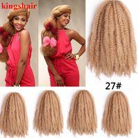 marley pelo rizado rizado al por mayor-Marley Braids Extensión para el cabello Ombre sintético Rojo / Gris Afro Kinky Crochet Kanekalon Trenzas para el cabello Trenzas a granel 18 pulgadas 30roots