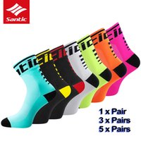 Wholesale pro sports football resale online - Santic Cycling Socks Men Women Breathable Basketball Outdoor Sport Running Football Running Socks Pro Bike Bicycle