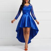 vestido maxi de verão azul royal venda por atacado-Festa À Noite Mulheres Vestido Data Oco Out Floral Lace Longo Primavera Verão Royal Blue Borgonha Red Maxi Vestidos de roupas de grife
