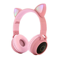 Wholesale cute mic resale online - Cat Ear Headphones Bluetooth Stereo Headset With LED Lights Cat Ear Cute Cartoon Earphone Portable Headsets With Mic Support TF Card
