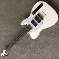 Wholesale electric guitar made resale online - Factory white body electric guitar with TL pickup White Pickguard yellow maple custom made