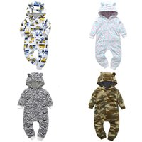 Wholesale silver ear jacket resale online - 3 Month Baby Outerwear Coat Girls Boys Rompers Long Sleeve Ear Hooded Children s Jumpsuit Hooded Fall Bebe Camouflage CostumeMX190912