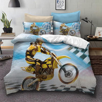 Wholesale 3d bedding sets cars resale online - bedding set duvet cover bedding kids sports car car d motorcycle set boys
