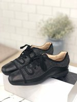 Wholesale black flat oxford shoes women for sale - Group buy Designer Vintage Denim Lambskin Oxford Genuine Leather Ladies Shoes Inner Leisure Neutral Oxford Women Lace Up Flat Shoes Sizes35