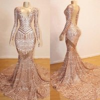Wholesale fashion sale shirt images for sale - Group buy 2019 Hot Sale Vintage Evening Gowns V Neck Mermaid Long Sleeve See Through Open Back Arabic Rose GOld Prom Dresses BC0841