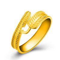 Wholesale ring feathers resale online - Top Quality k gold plated new feather designer adjustable rings lovers Band Rings for Women and Men Couple rings Luxury Jewelry Gift