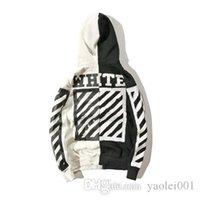 capuche diagonale achat en gros de-OW hoodies de luxe hommes rayures diagonale noir et blanc couleur yin et le yang cardigan chandail à capuchon